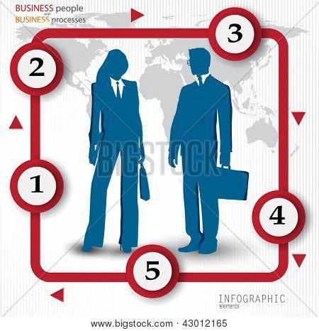 Banners de design moderno com empresários. Modelo de vetor para infográficos