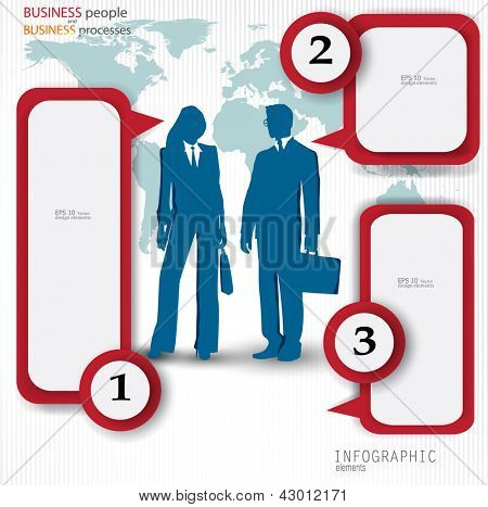 Numbered speech bubbles. Vector template with business people for infographics