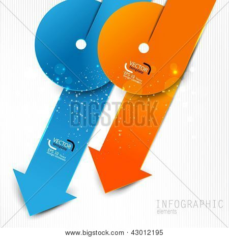 Colorful paper arrows on white background. Vector template for infographics