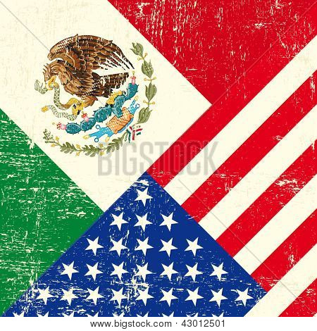 USA and Mexican grunge Flag.