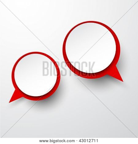 Vector abstract illustration of white and red paper round speech bubbles on grey background. Eps10.