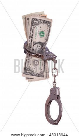 Handcuff With Dollar Notes