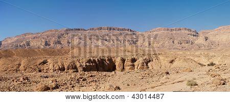 Scenic desert landscape in the Small Crater (Makhtesh Katan) in Negev desert, Israel