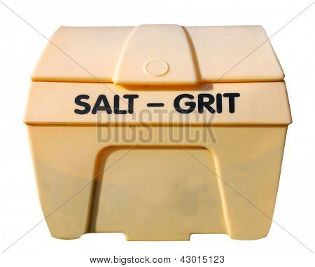 Industrial salt and git bin isolated on white background.