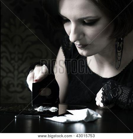 Beautiful woman drug addict