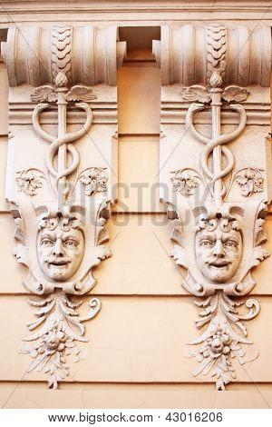 Stone Faces. Ancient Building. Odessa, Ukraine
