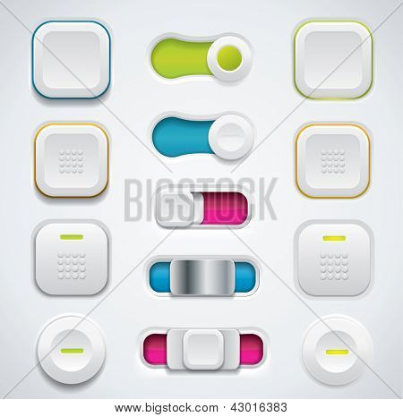 Modern UI button set including switches and push buttons in different design variations