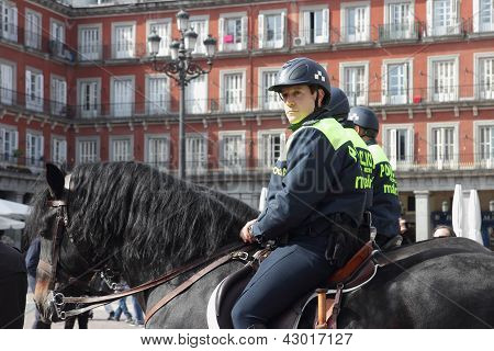 Mounted Police In Plaza Mayor
