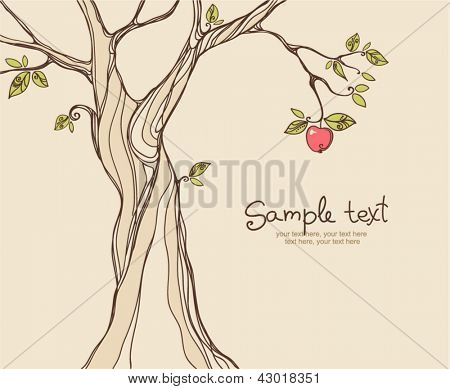 card design with stylized apple tree