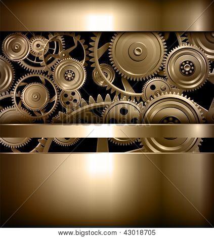 Technology background metallic gears and cogwheels, vector.