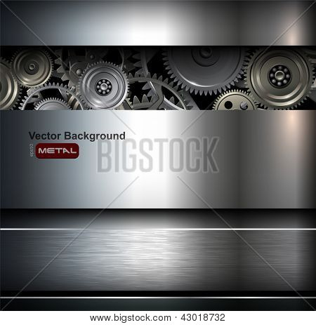 Background metallic with technology gears, vector illustration.
