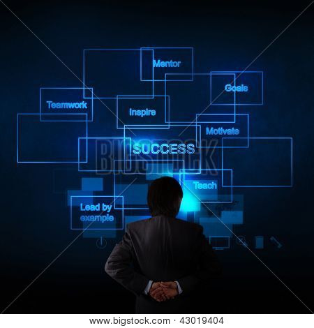 Businessman Hand Thinking About The Business Success Diagram