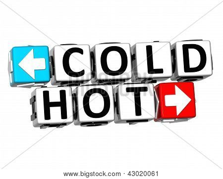3D Cold Hot Button Click Here Block Text