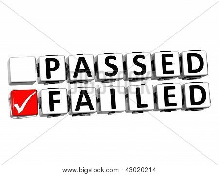 3D Passed Failed Button Click Here Block Text