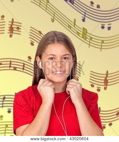 Young Woman with Headphones listening music with musical notes of background