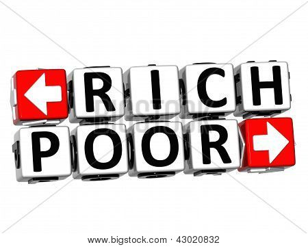 3D Rich Poor Button Click Here Block Text