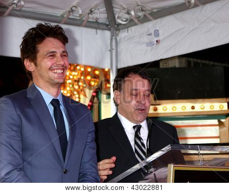 LOS ANGELES - MAR 7:  James Franco, Sam Raimi at the Hollywood Walk of Fame Ceremony honoring James Franco at the El Capitan Theater on March 7, 2013 in Los Angeles, CA