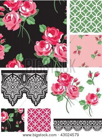 Black and Pink Rose Vector Seamless Patterns and Icons. Use as fills, digital paper, or print off onto fabric to create unique items.
