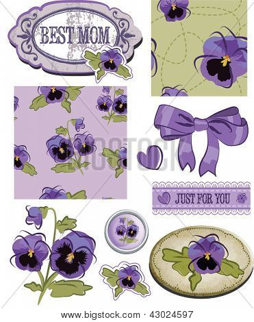 Mother's Day Pansy Flower Scrap Booking Elements and Patterns. Use as fills, digital paper, or elements for scrap booking.