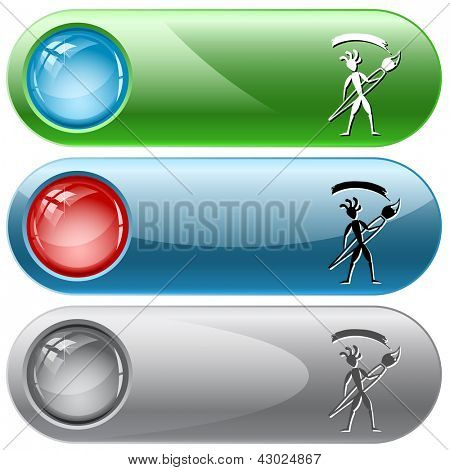 Ethnic little man with brush. Vector internet buttons.
