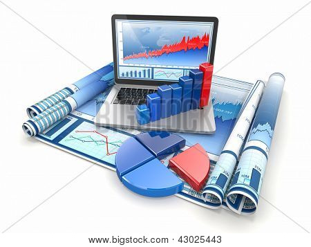 Business analyze. Laptop, graph and diagram. 3d