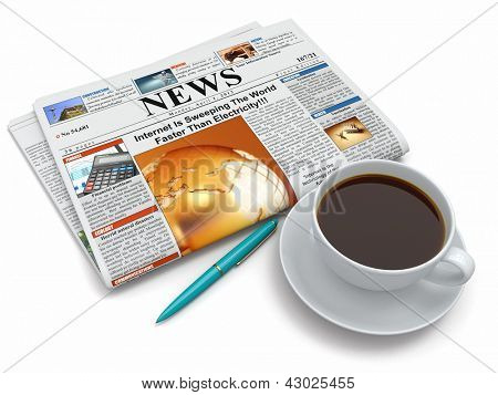 Coffee cup with newspaper on white isolated background. 3d