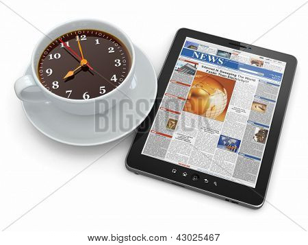 Morning news. Tablet pc  and clock as cup of coffee. 3d