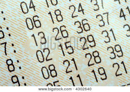Close-up de bilhetes de loteria