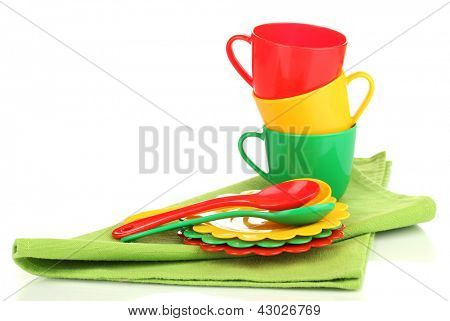 Children's plastic tableware isolated on  white