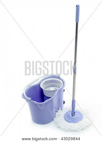 Rotary mop and empty bucket shot on white background
