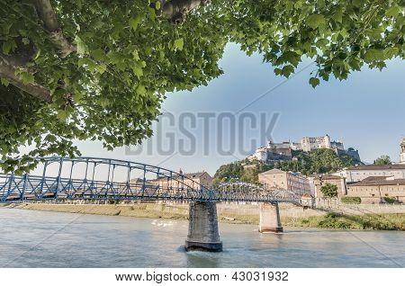 Mozart Bridge (mozartsteg) And Salzach River At Salzburg, Austri