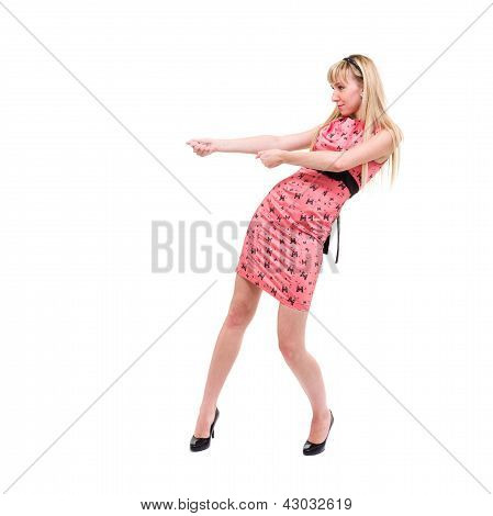 woman pulling an imaginary rope