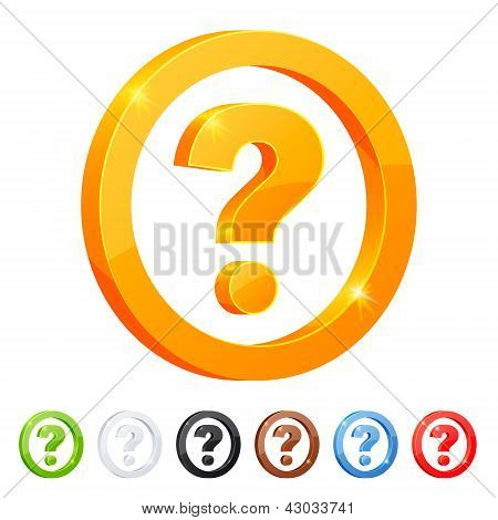 Set of 7 question symbol in different colors.