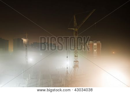 Building Site In The Fog At Night