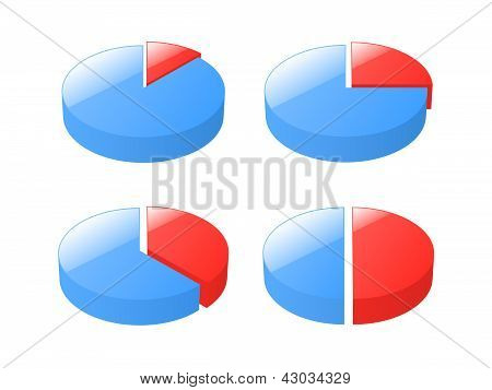 Set Of 3D Exploded Pie Charts. Vector Illustration