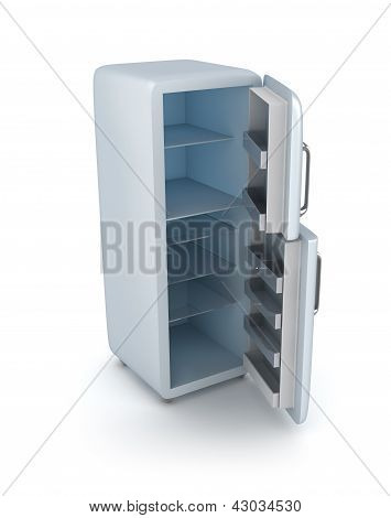 Modern fridge with opened doors.