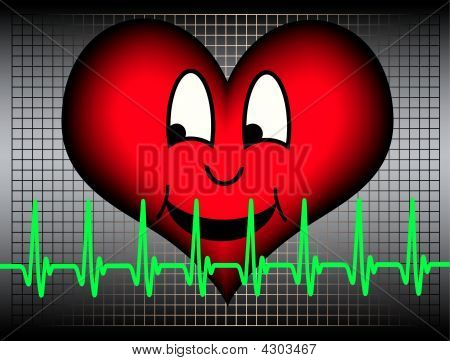 Laughing Heart And Green Cardiogram Line
