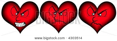 Three Hearts With Different Mimics
