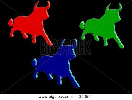 drei farbigen bulls