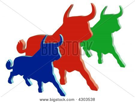 Three Colored Bulls