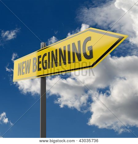 Road Sign With Words New Beginning