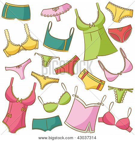 Female Underwear Icons Set