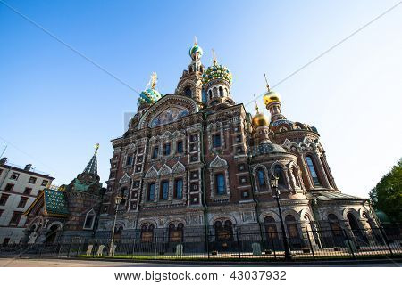 ST.PETERSBURG, RUSSIA - MAY 21: Church of Savior on Spilled Blood in May 21, 2012 in St.Petersburg, Russia. Construction began in 1883 under Alexander III, as memorial to his father, Alexander II