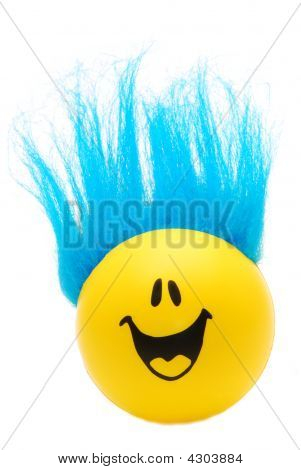 Happy Face With Blue Hair