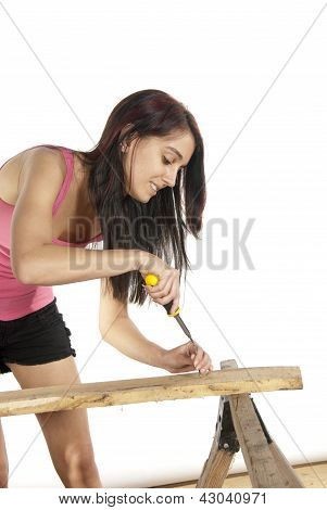 Young Woman Screwdriver Putting Screw Into Wood