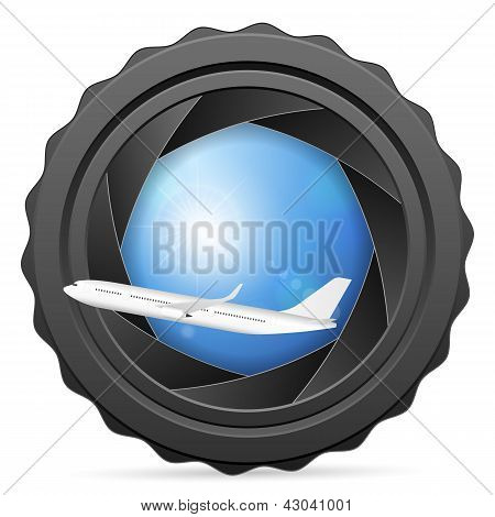 Camera Shutter With Airplane