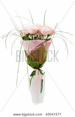 Colorful Flower Bouquet From Pink Roses In White Vase Isolated On White Background.