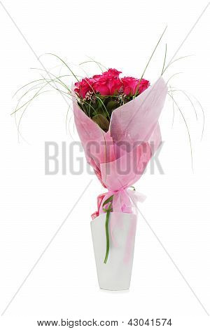 Colorful Flower Bouquet From Red Roses In White Vase Isolated On White Background.