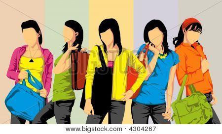 Five Female University Student
