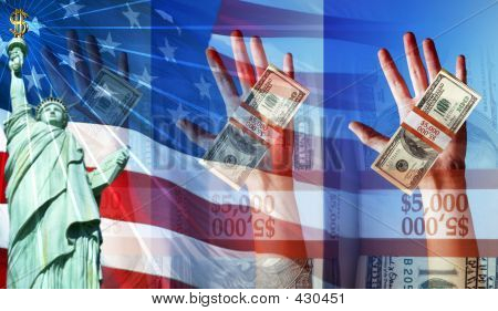 Hands Holding Money And The American Flag And Statue Of Liberty
